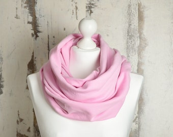 Spring Infinity Scarf with Raw Edges, Pink Wrap, Double-sided, Rose Snood, Double Loop Shawl, Gift for Her, AtelierWhiteMouse