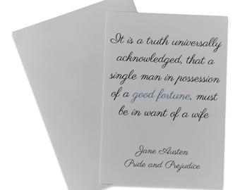 Jane Austen Wedding Card, Pride and Prejudice Card, Engagement Card, Bridal Shower Card
