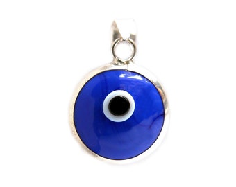 925k Sterling Silver Blue Evil Eye Pendant | Evil Eye Jewelry, Evil Eye Charm, Silver Evil Eye, Turkish Evil Eye, Greek Evil Eye -ME1000-