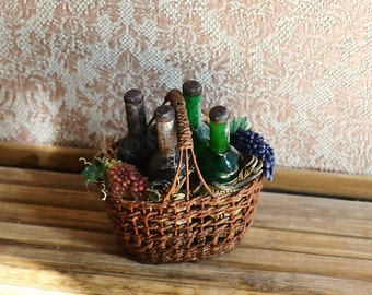 Dollhouse Miniature Wicker basket, realistic food, miniature grapes, wine in a wicker, scale one inch, scale 1:12, miniature food, grapes.
