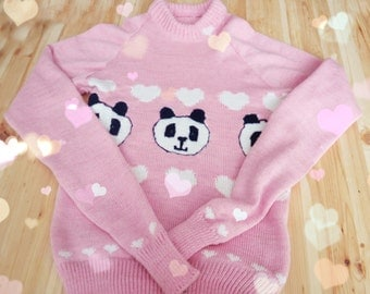 Women's Knitted Winter Sweater with panda