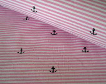 Cotton Jersey pink-and white striped with anchor