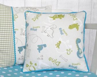 Personalised Children's Cushion, Dinosaur Cushion, Dinosaur Throw Pillow, New Baby Gift, Dinosaur Nursery Decor, Christening Gift