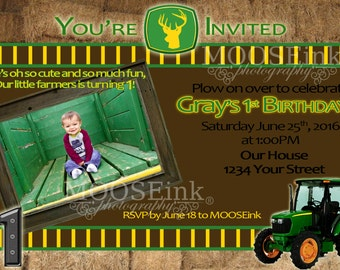 5x7 Custom Tractor / Farmer Birthday Invitation