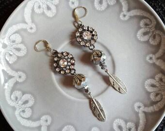 Silver Jewel Feather Earrings