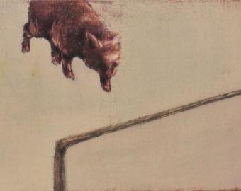 Original oil painting stray animals  cat