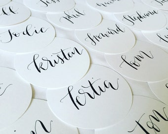Round wedding / event gift tag / place card / name holder
