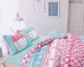 Full Size Bedding Materials Supplies, Pink and Blue Color Check and Striped/ Constellation Pattern Fabric (JJ355)