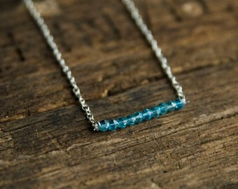 Simple Beaded Bar Necklace
