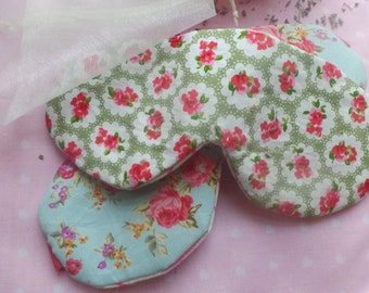 Green vintage style floral rose fabric eye mask /sleep mask