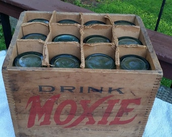 New Price...Rare Drink Moxie Crate with 12 Moxie Bottles Soda Pop Boston, Mass