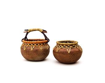 Terracotta Art Pottery Basket Planters