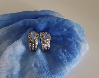 Vintage Clip On Earrings/Silver Marcasite Rhinestone Earrings/Vintage Blue Rhinestone Earrings/Womens Jewelry/Womens Earring/Costume Jewelry