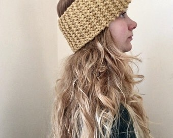 The Daisy Headband // Wool Blend Bow Headband // Super Chunky Knit Headband // Wool Blend Earwarmer // Women's Headband