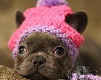 Handmade French Bulldog Clothe Puppy Beanie crochet pom pom hat dog clothes dress up
