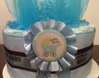 It's A Boy Diaper Cake, Baby Boy, Baby Shower Centerpiece, Newborn, Hospital Gift
