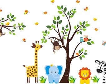 "Baby Room Jungle Wall Stickers - Safari Animal Wall Stickers - Kids Room Wall Decals - Nursery Room Mural - Nursery Wall Decals - 83"" x 97"""