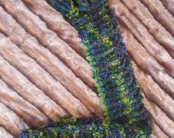 Lime green and royal blue hand knit scarf