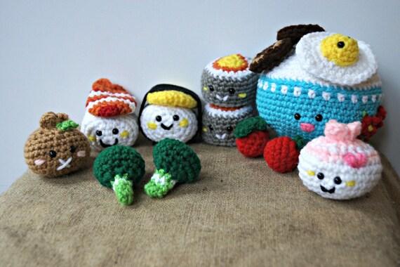 Crochet Kawaii Bento Amigurumi Sushi Set 17 Pieces