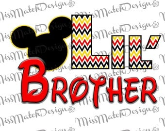 Mickey Mouse Little Lil Brother Shirt DIY Iron On Digital Image Instant Art Big Brother Matching Yellow Black Disney Pregnancy Announcement