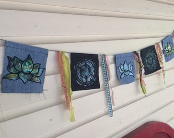 "Lotus & Mandala ""Zen Flags"" / Handmade Prayer Flags"