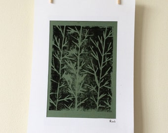 Abstract Tree Print, Original Mounted Artwork, Available In Two Different Colours, Ex-Display Piece