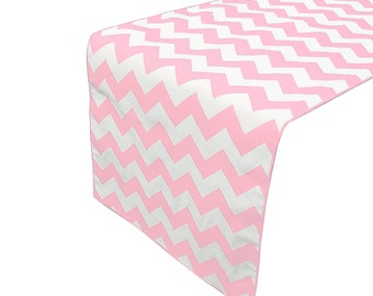 Zen Creative Designs Premium Cotton Table Top Runner Zig-Zag Chevron Pink