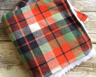 Plaid Lovey Blanket, Baby Blanket, Sherpa Blanket, Lovie, Boys Blanket, Stroller Blanket, Fall Blanket, Security Blanket, Minky