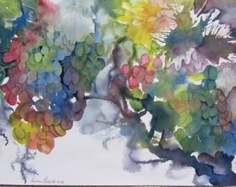 Watercolor Original Rectangular Grapes on the Vine Colorful