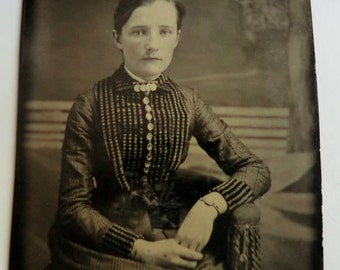 Tintype Photo Pretty Girl Wearing Great Victorian Dress and Bracelet