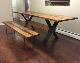 8' Modern Industrial X Frame Dining Table With Matching Bench