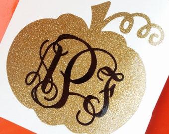 Pumpkin Monogram Decal | Halloween Monogram Decal | Glitter Pumpkin Decal | Gold Pumpkin Decal | Fall Monogram | Thanksgiving Monogram Decal