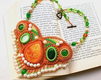Orange and green bead embroidered necklace