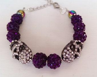 Purple pave skull bracelet.