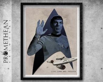 """Mr. Spock """"Live long and prosper"""" Vintage / Retro Style Star Trek Print - 3 FOR 2"""