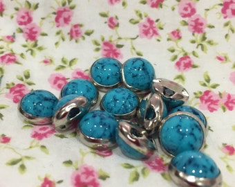 Turquoise and silver coloured domed  circular button/stud 18 line 11.6mm diameter