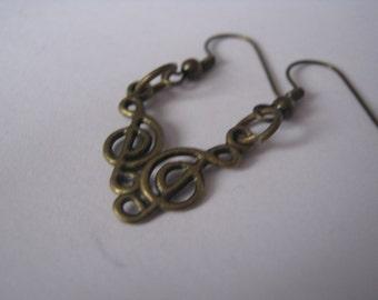 trebble cleft drop earrings