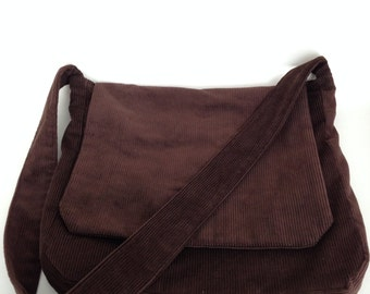 Large Brown Corduroy Crossbody Messenger Bag by Jenny K Designs