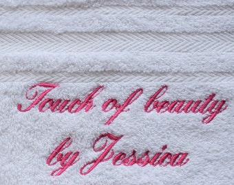 Personalised Luxury 100% Cotton White Bath Towel 550 gsm