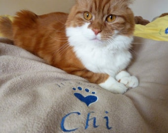 Cat Bed Blanket. Soft Cosy Bespoke Fleece Pet Cat Kitten Blanket Personalised with Pets Name and Paw Print Design. Light Brown Blanket.