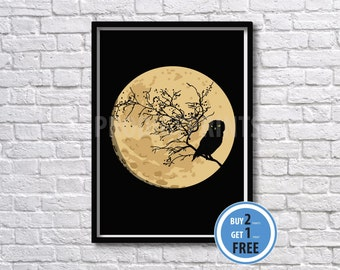 Owl in the moon art print, Owl art, Moon print
