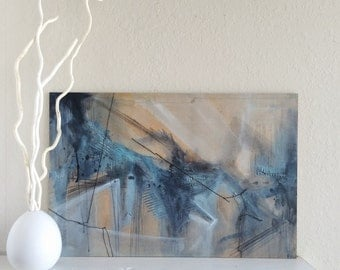"Original Blue Abstract Acrylic Painting - 16"" x 24"""