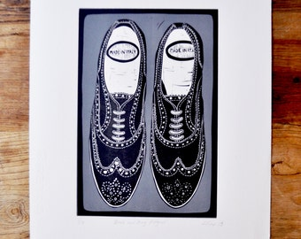 Black & Grey Brogue Shoes Lino Print, Printmaking, Original Print, Handmade, Australian
