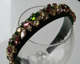 Beautiful green velvet headband/hairband with green gold and pink rhinestone jewel gem decorations