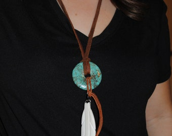 One of My Favs! Thick Brown Leather Necklace with Turquoise Disk and Big Buffalo Bone Feather