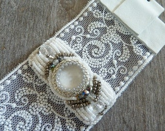 cuff wedding lace, White leather and embroidered beads