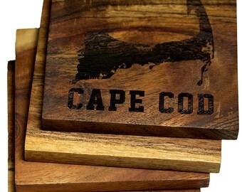 Cape Cod, Massachusetts Coasters - Set of Four Engraved Acacia Wood Coasters