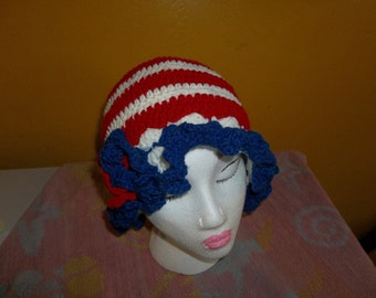 Hand Crochet woman's  patriotic  chameleon hat red,white and blue