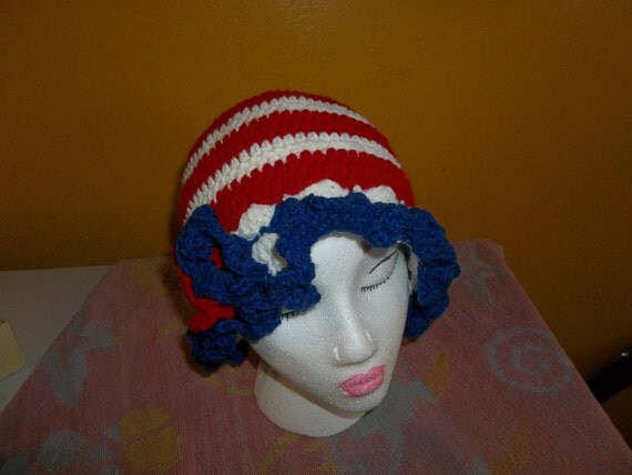 Hand Crochet woman's  patriotic /4th of July/Memorial Day Hat New