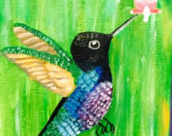 Acrylic hummingbird painting
